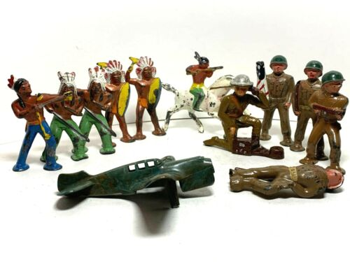 10 Lead NATIVE AMERICAN INDIAN COWBOY Toy Figurines