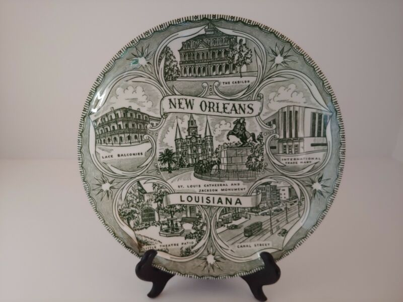 "DECORATIVE COLLECTIBLE PLATE New Orleans Louisiana Souvenir Green 9.25"""