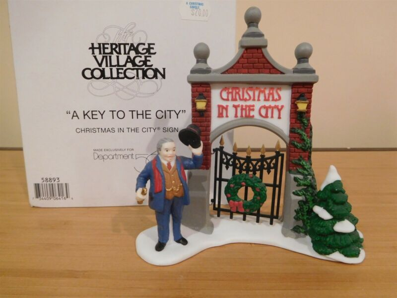 Dept 56 CIC Accessory - A Key To The City -Christmas in the City Sign -Free Ship
