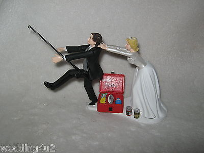 Wedding Party Cake Topper ~Drunk~ Fishing Fisherman  Beer Cans Running Groom (Fishing Cake Toppers)