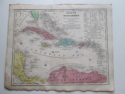 """1839 SMITH'S ATLAS """"MAP OF WEST INDIES"""""""