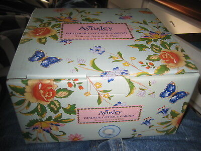 a lovely  Aynsley Windsor Cottage Garden Gift  Set Tea cup Saucer and Plate SALE