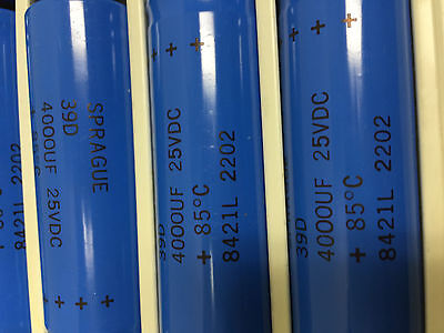 10 Sprague Electrolytic Capacitors 39d Serie 4000 Uf 25vdc  Axial Leads.