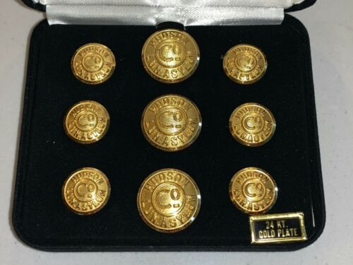 HUDSON COUNTY LUNATIC ASYLUM UNIFORM BUTTONS 24KT Gold Plated, by Waterbury