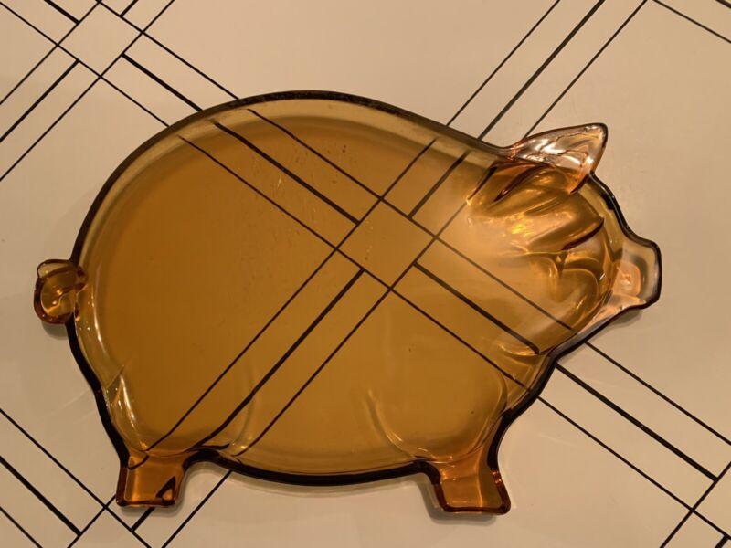 Vintage Indiana Glass Tiara Pig Serving Platter