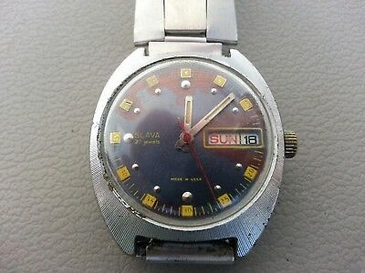 Russian Watch SLAVA . Automatic . Self - Winding . Made in USSR . 27 Jewels .