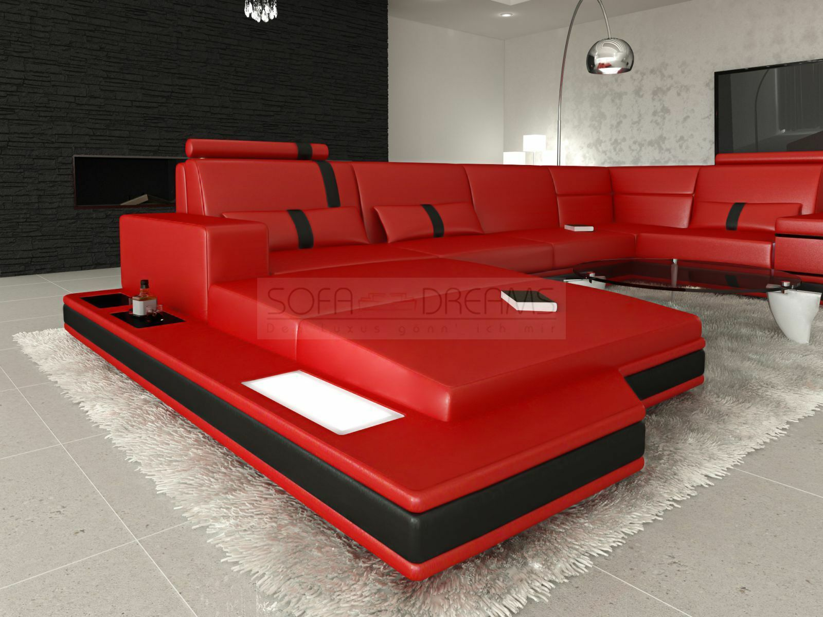 Ledersofa messana designer sofa wohnlandschaft licht eur for Designer wohnlandschaft
