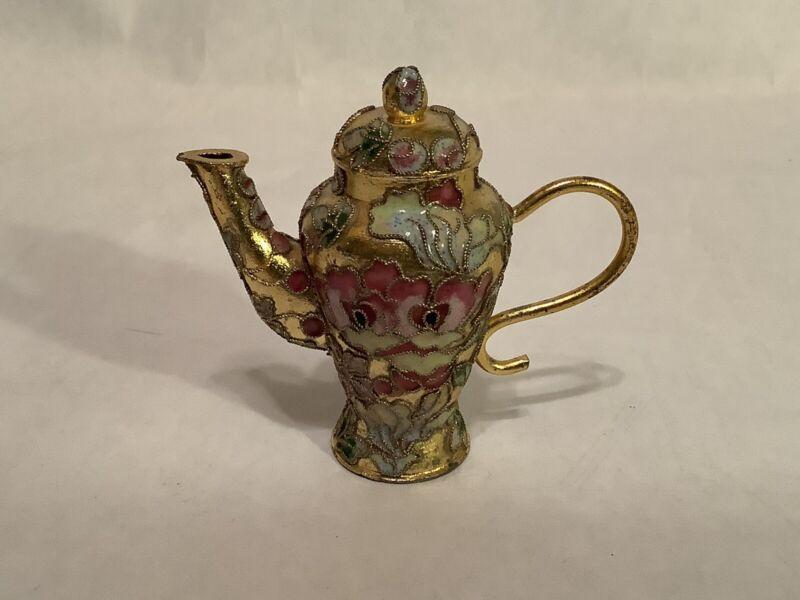 Miniature Enamel Cloisonne Tea Pot #2