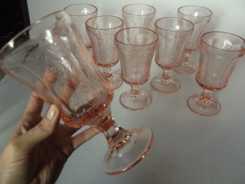 """(8) Water Goblets Glasses 6-1/2"""", Indiana Recollection Madrid depression Pink"""