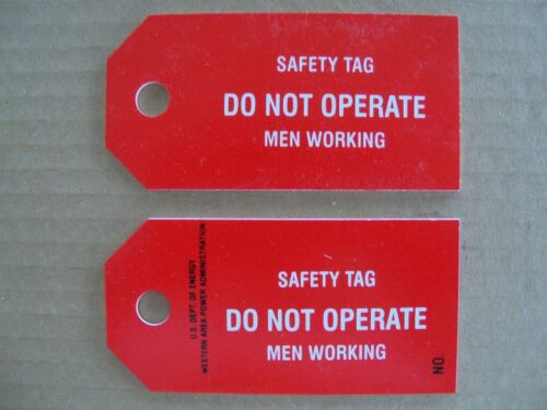 "Lot of 5 Safety Lockout Tagout Tags ""Do Not Operate Men Working"" - Red"