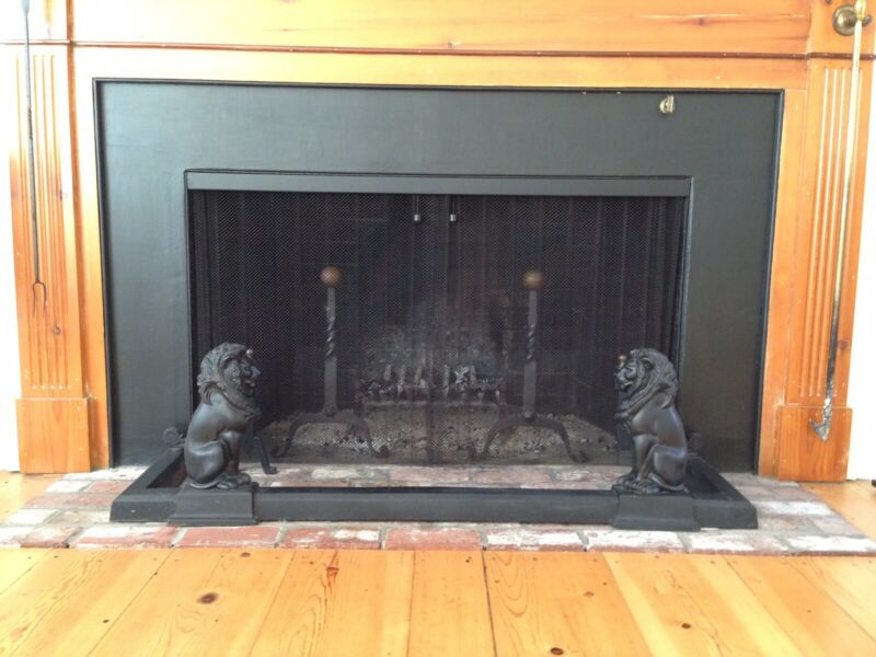 Antique Black Iron Fireplace Fender With Lions - Impressive!