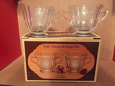 Indiana Glass Recollection 4500 Crystal Cream Sugar Set  NOS New in Box