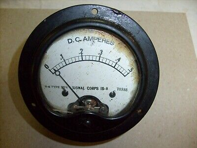 Vintage Roller-smith Is-8 Signal Corps D.c. Amperes Panel Meter 0 - .5