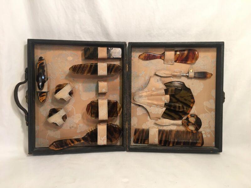 RARE 14 piece Antique/Vintage Tortoise Traveling Vanity set in Original Case