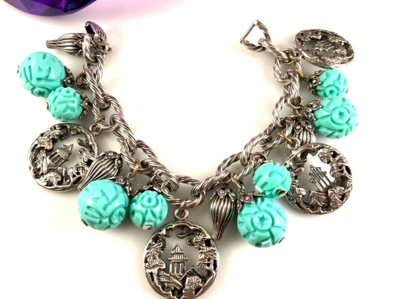 Napier Silver Blue Glass Bead Bracelet 1950