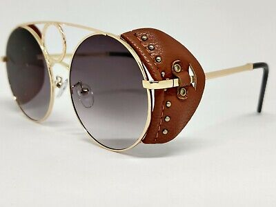 NEW Men Sunglasses Fashion Eyewear Steampunk big face glasses leather cover