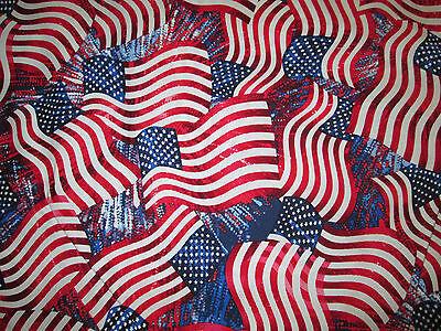 Cotton Wavy American Flag - Wavy Flag American USA Patriotic Red Cotton Fabric FQ