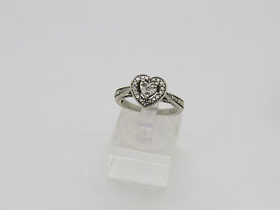 Deco Style Heart - Art Deco Style Raised Heart w/ Diamond Chip Accents Sterling Silver Sz 7 Ring E