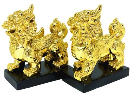 A Pair Goldden Feng Shui Wealth Pi Yao /Pi Xiu Xie Statue Figurine Decoration