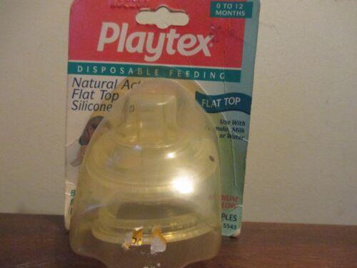 Vintage 1 pack of 2 Playtex Nipples Flat Top Silicone Medium Flow