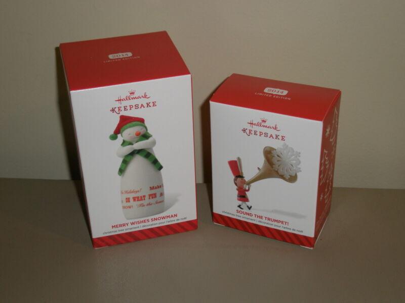 Hallmark 2014 Merry Wishes Snowman Sound Trumpet Limited Edition Ornament LOT