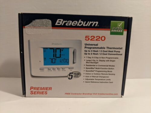 Braeburn 5220 Universal Auto Changeover Digital Programmable Thermostat NEW