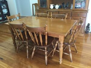 Solid Top Beech Timber Dining Table and six(6) Euro Chairs Shellharbour Shellharbour Area Preview