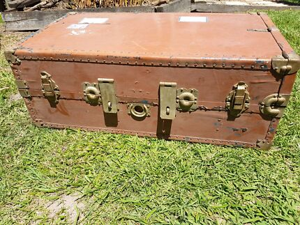 Vintage rustic large timber wood army military crate box trunk ...