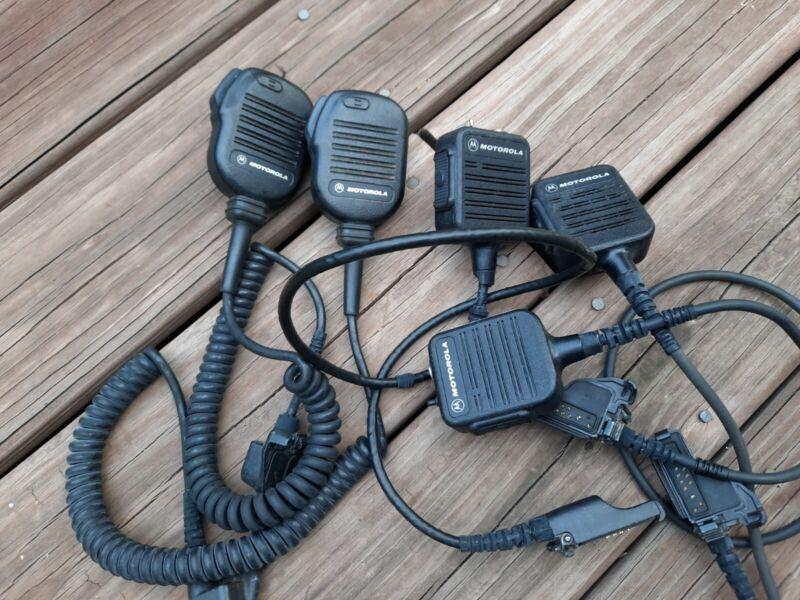 3 Motorola NMN6228C Public Safety Speaker Microphone & 2 NMN6193B, LOT B