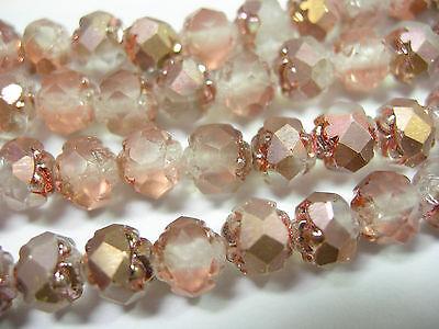 25  5X6mm Czech Glass Matte Apollo Gold Rosebud Beads