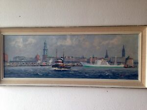 Giovanni Bruno oil painting Harbor TugBoat scene