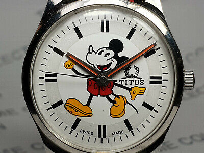 Vintage Titus Mickey Mouse Dial Mechanical Handwinding Mens Wrist Watch VG15