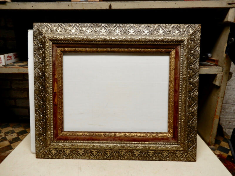 ANTIQUE VICTORIAN GOLD AND SILVER GILT LARGE GESSO WOOD PICTURE FRAME