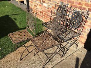 Alfresco Wrought iron folding chairs x 4