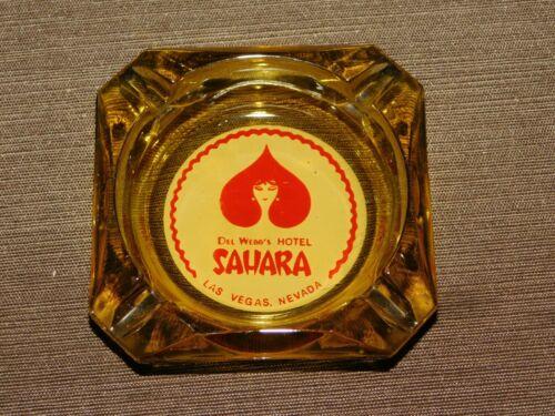 "VINTAGE TOBACCO CASINO 3 1/2"" ACROSS SAHARA HOTEL LAS VEGAS NEVADA GLASS ASHTRAY"