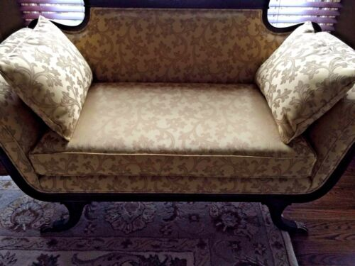 Duncan Phyfe Antique LoveSeat Mahogany Wood Profess. Restored w/Custom Fabric