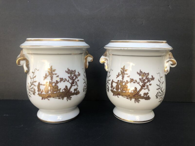 """Lovely Pair Vintage Footed Gold Trim Decoration Handles Cachepots 6.5"""" Pastoral"""