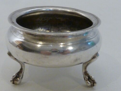 FRENCH SILVER SALT DISH ON 3 FEET, RENNES DISCHARGE MARK 1768-74