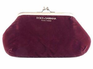 D&G DOLCE & GABBANA BURGUNDY VELVET CLUTCH PURSE BAG NEW