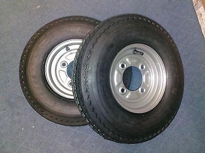 """Pair Of Trailer Wheels and Tyres 480/400 x 8"""" Fit MP6812, Daxara 127, Erde 121"""