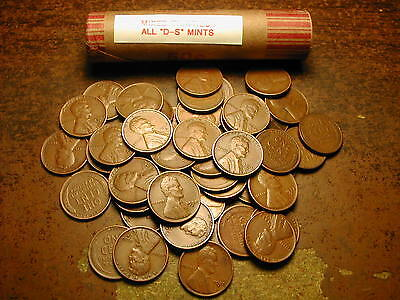 """LINCOLN WHEAT CENT PENNY ROLL MIXED THIRTIES, ALL """"D&S"""" MINTS!!"""