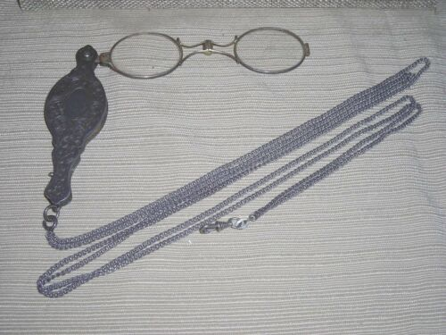 Very Rare All Original Sterling Silver Etched Lorgnette Opera Glasses  Unique