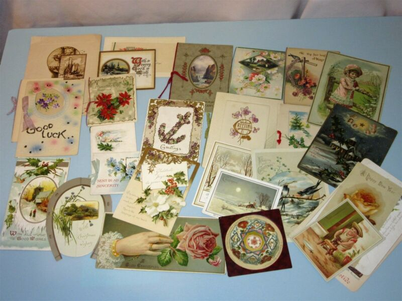 Vintage & Victorian Lot 28 Christmas Card & 9 Calling Gift Cards