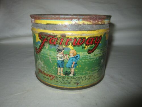 Rare Vintage Fairway 1 Pound Coffee Tin Awesome Graphics!!!