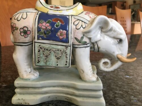 Vintage Antique Enameled Porcelain Elephant Statue, Asian