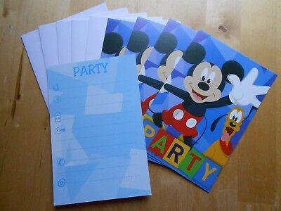 5 Disney Micky Maus Einladungskarten mit Umschlägen Party Geburtstag  ()