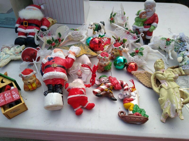 Vintage Christmas Ornaments Lot Plastic Flocked Ceramic As Is