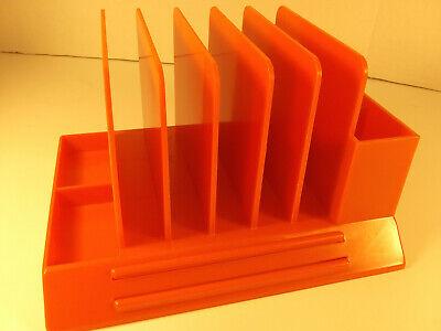 New Max Klein Vintage Plastic Orange Desk Table Letter Office Pen Organizer Mcm