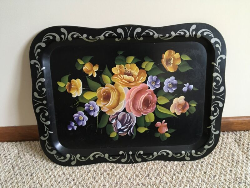antique hand painted tole tray. Free shipping