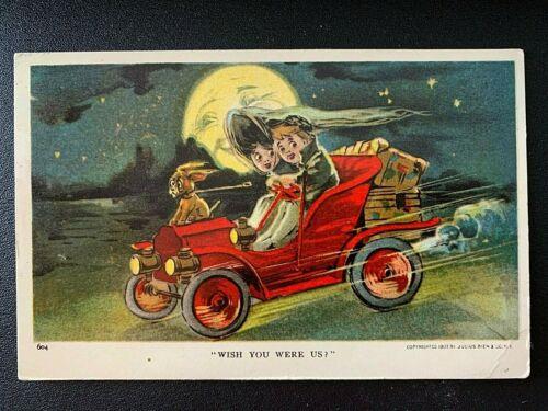 "Antique Halloween Postcard 1907 Honeymoon Series ""WISH YOU WERE US"" Julius Bien"